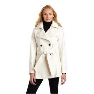 Via Spiga Double Breasted Belted Ivory Wool Coat